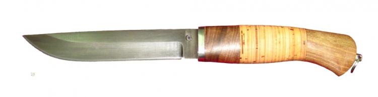 Нож из стали 65Г Засапожный Т, рукоять орех, береста